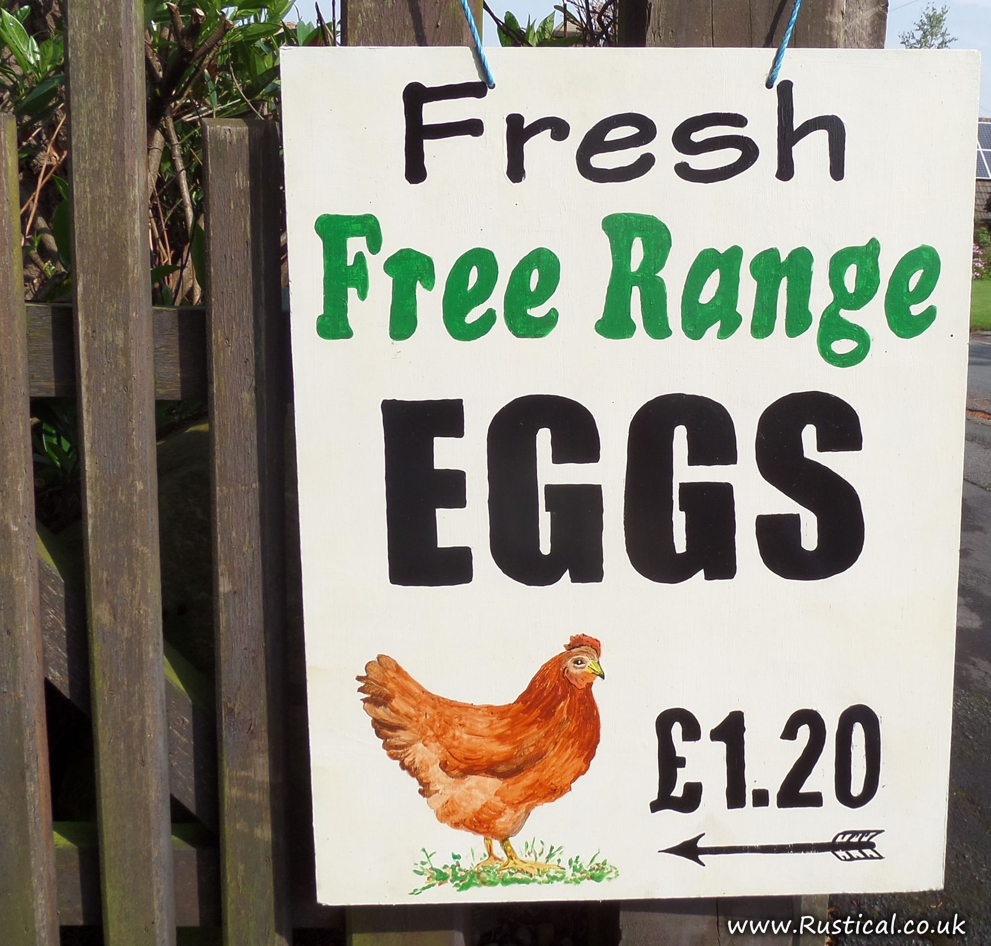 Our new hand painted 'eggs for sale' sign