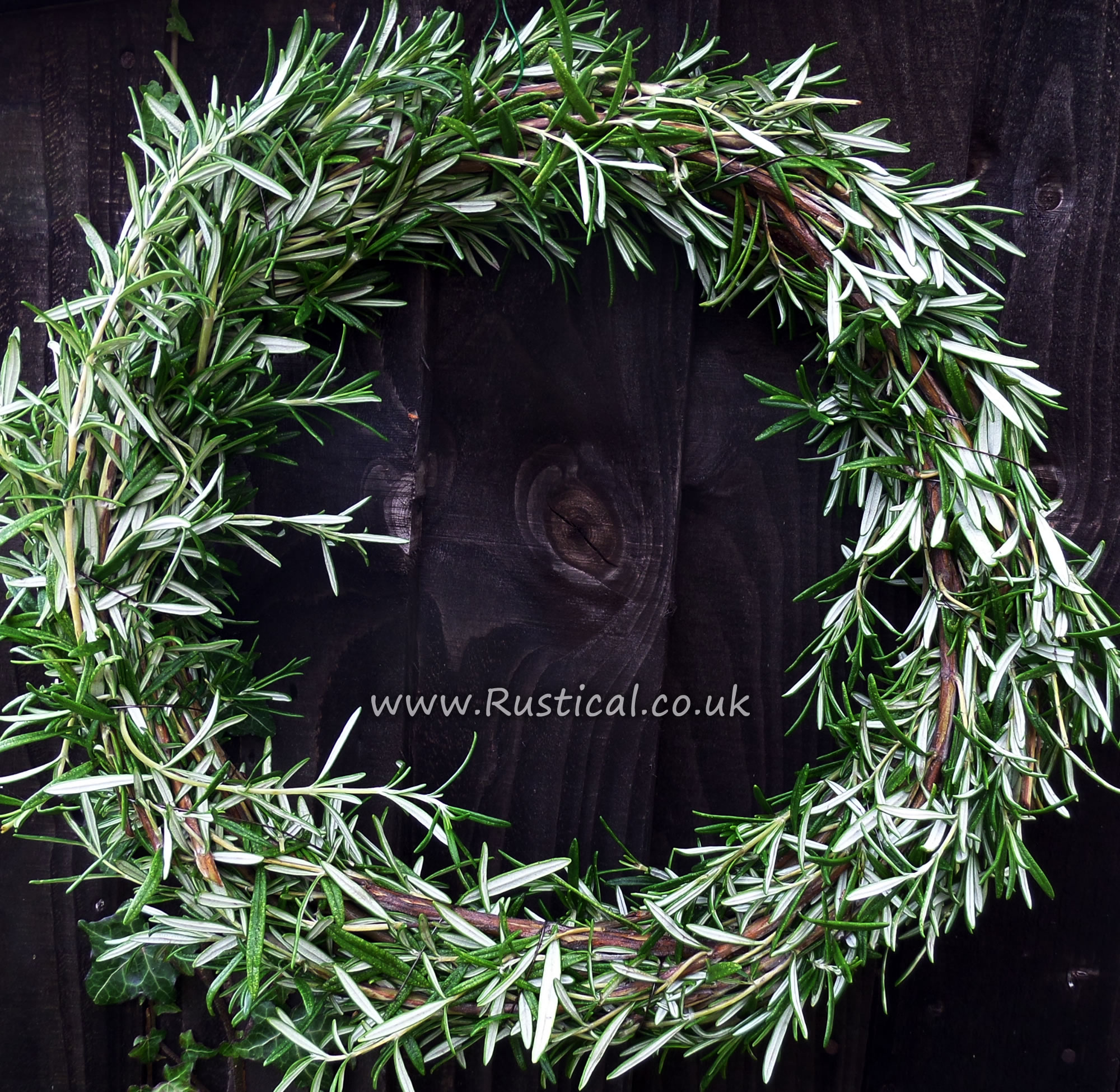 12 inch wreath made from willow and rosemary