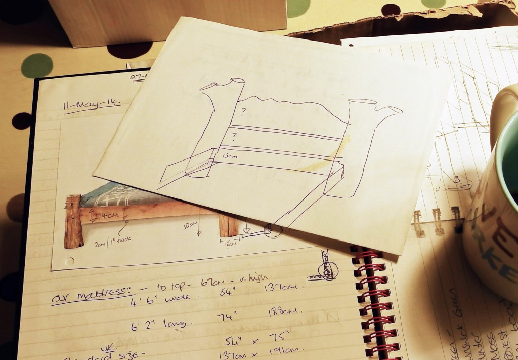 Pictures, measurements and sketches of a rustic bed