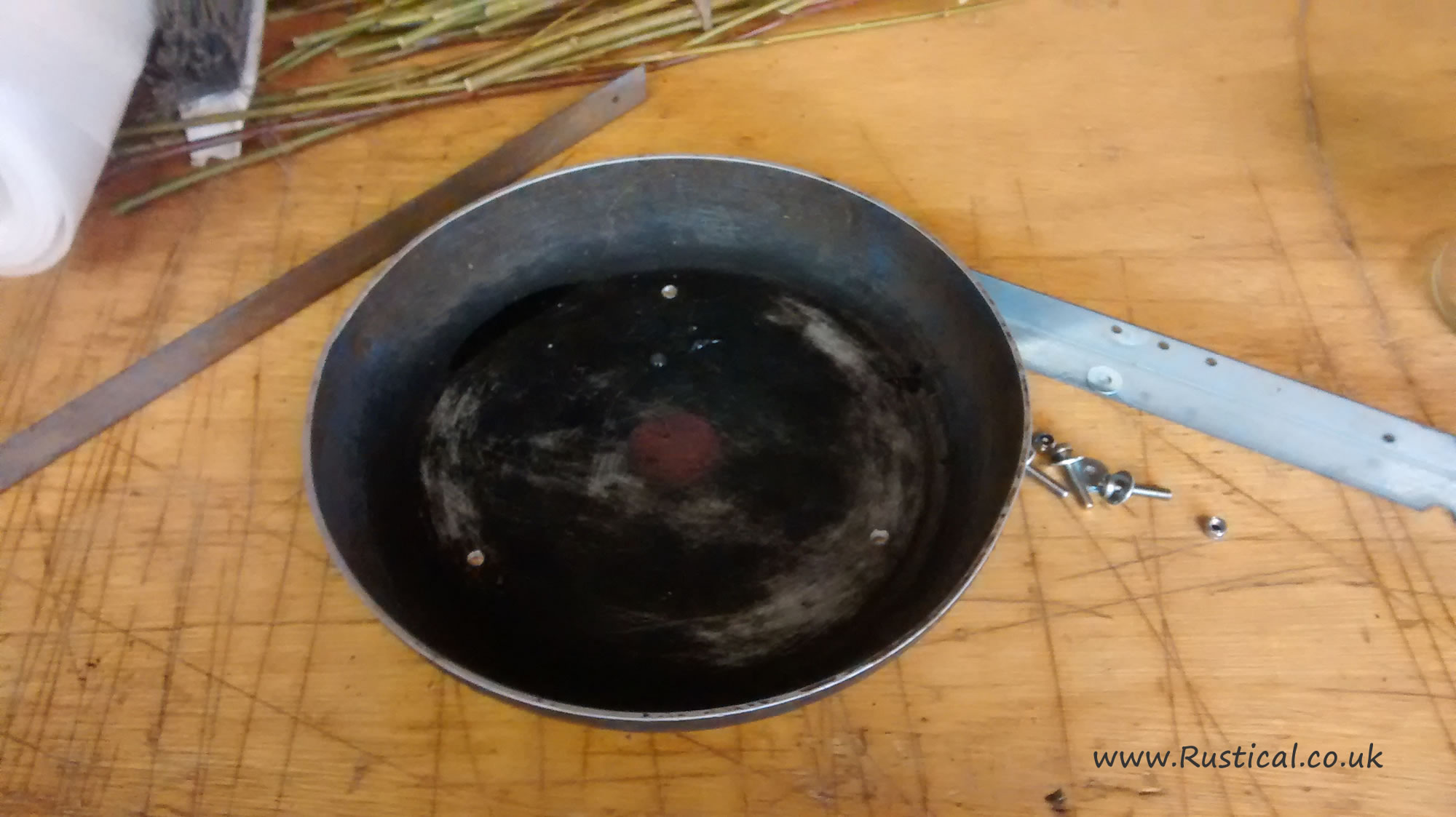 Making wood stove chimney cowl from a frying pan