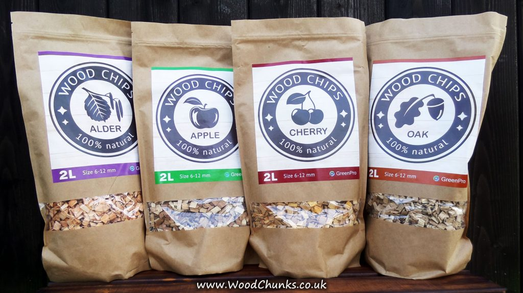 Alder, Apple, Cherry and Oak wood chips now in stock