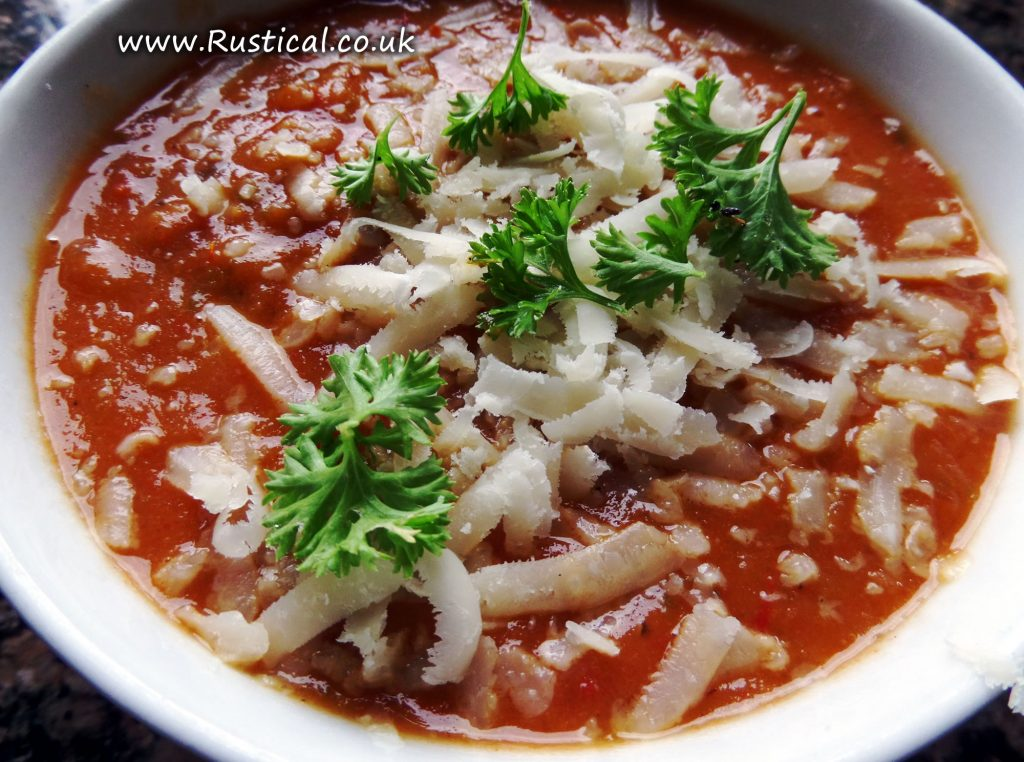 Bowl of roasted tomato and pepper soup