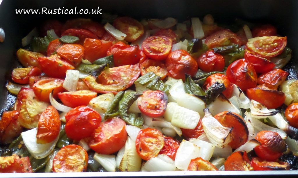 Roasted onions, garlic, peppers and tomatoes