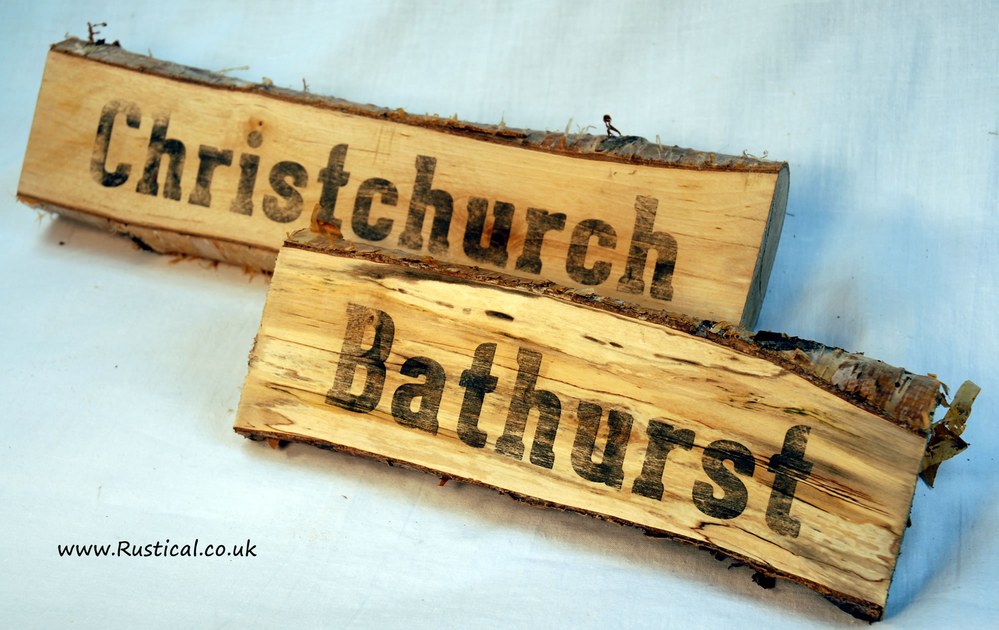 Rustic wedding table name signs