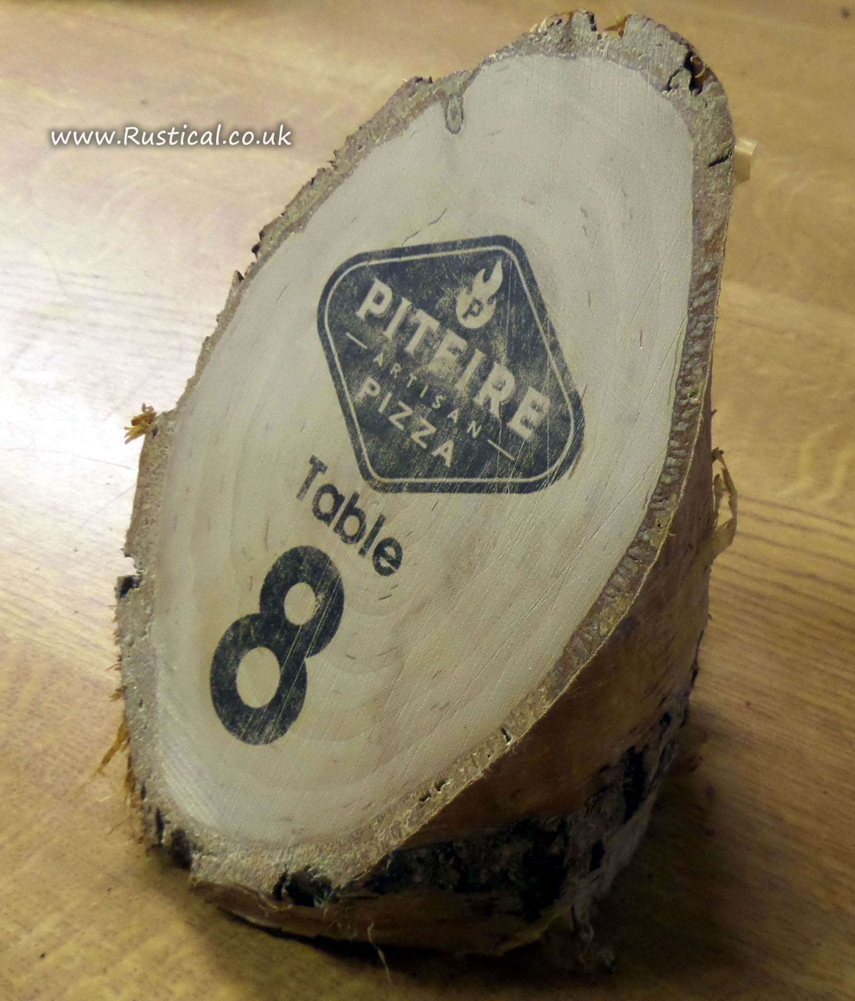 Rustic Log Pizza Restaurant Table Numbers Rustical