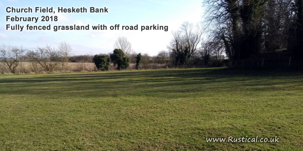 Church field at Hesketh Bank. Available for rent or hire