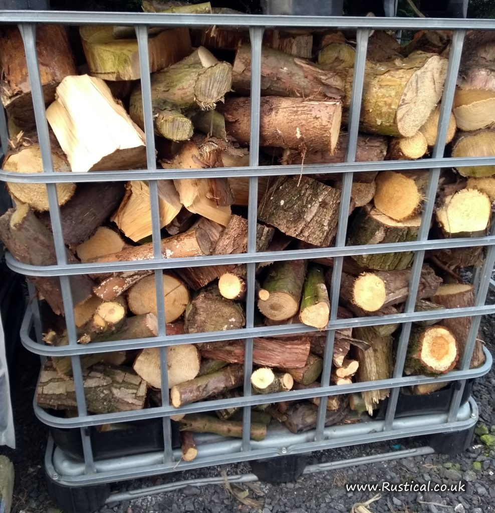 An IBC crate of mixed firewood