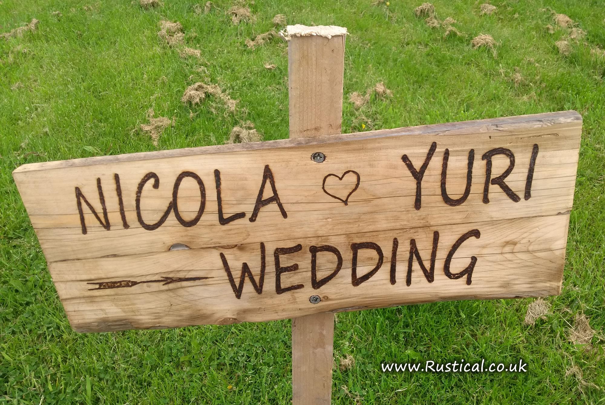 Rustic Wedding Sign for Nicola and Yuri