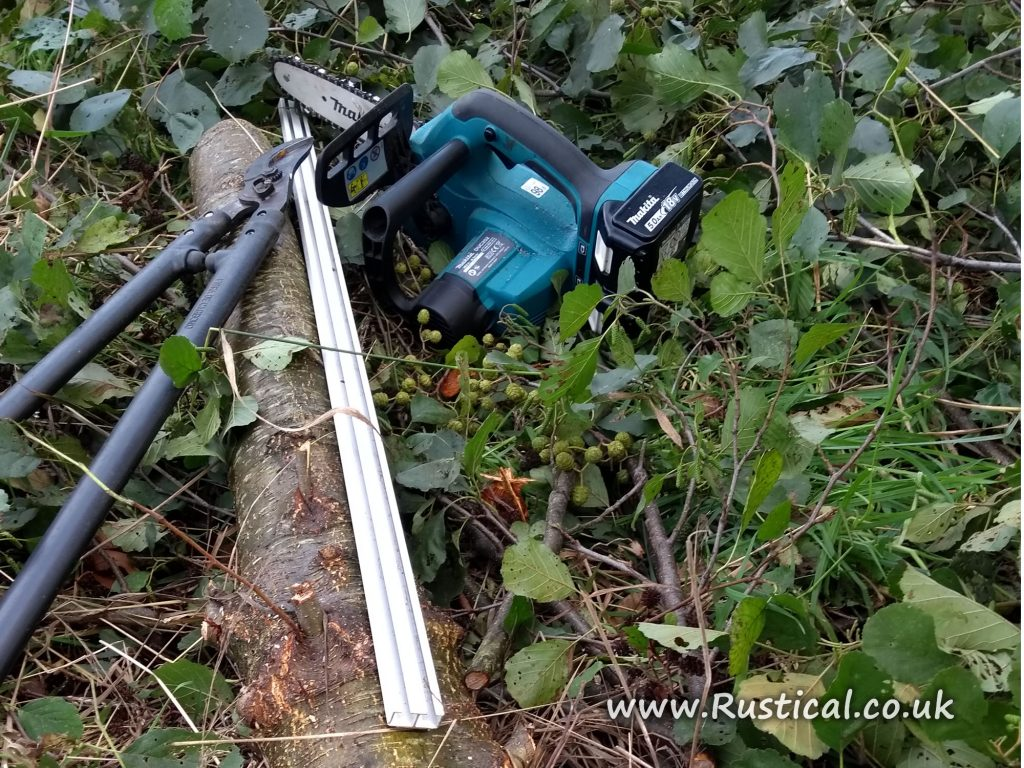 Our first battery chainsaw cutting coppice